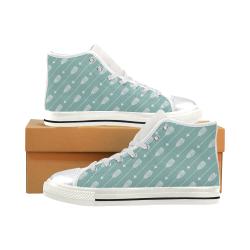 Mint Arrow Shoes, Arrow Stripe Women's Classic High Top Canvas Shoes (Model 017)