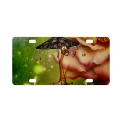 Funny giraffe with umbrella Classic License Plate
