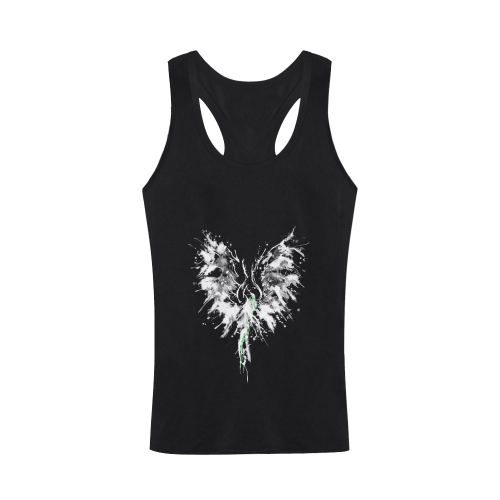 Phoenix - Abstract Painting Bird White 1 Plus-size Men's I-shaped Tank Top (Model T32)