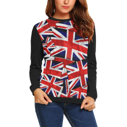 Union Jack British UK Flag - Union Jack British UK Flag (Vest Style) Black All Over Print Crewneck Sweatshirt for Women (Model H18)