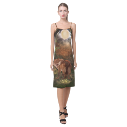 Awesome wolf in the night Alcestis Slip Dress (Model D05)