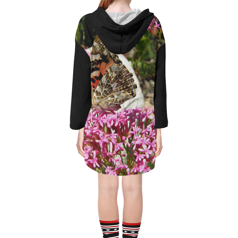 Painted Lady Butterfly Step Hem Tunic Hoodie for Women (Model H25)