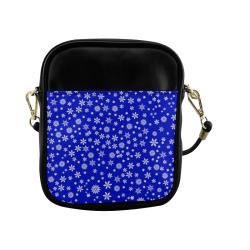 Christmas White Snowflakes on Blue Sling Bag (Model 1627)