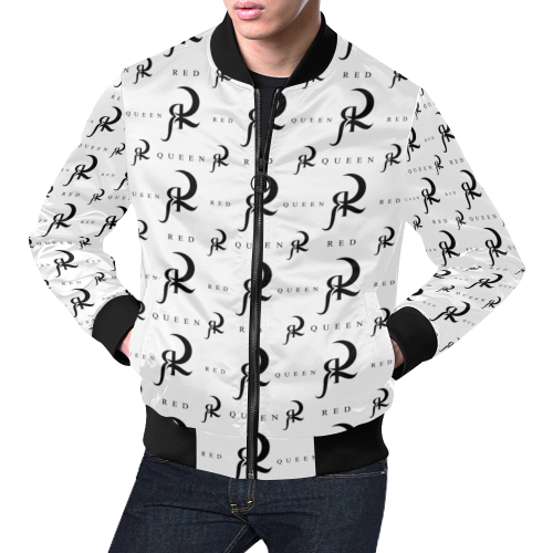 RED QUEEN ALL OVER LOGO PATTERN PRINT WHITE & BLACK All Over Print Bomber Jacket for Men (Model H19)