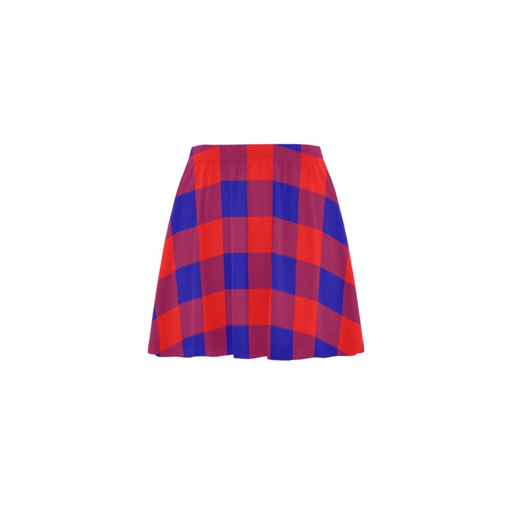 Red and Blue Checkered Mini Skating Skirt (Model D36)