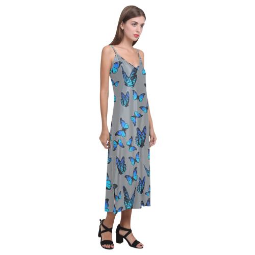 blue butterflies V-Neck Open Fork Long Dress(Model D18)