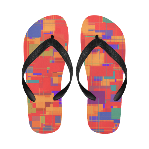 Random Shapes Abstract Pattern Flip Flops for Men/Women (Model 040)