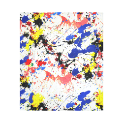 """Blue and Red Paint Splatter Cotton Linen Wall Tapestry 51""""x 60"""""""