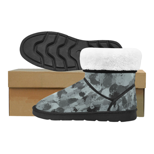 Black and Pastel Blue 3216 Custom High Top Unisex Snow Boots (Model 047)