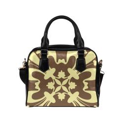 Beige Graphic on Tan Shoulder Handbag (Model 1634)