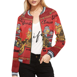 Santa Claus wish you a merry Christmas All Over Print Bomber Jacket for Women (Model H21)