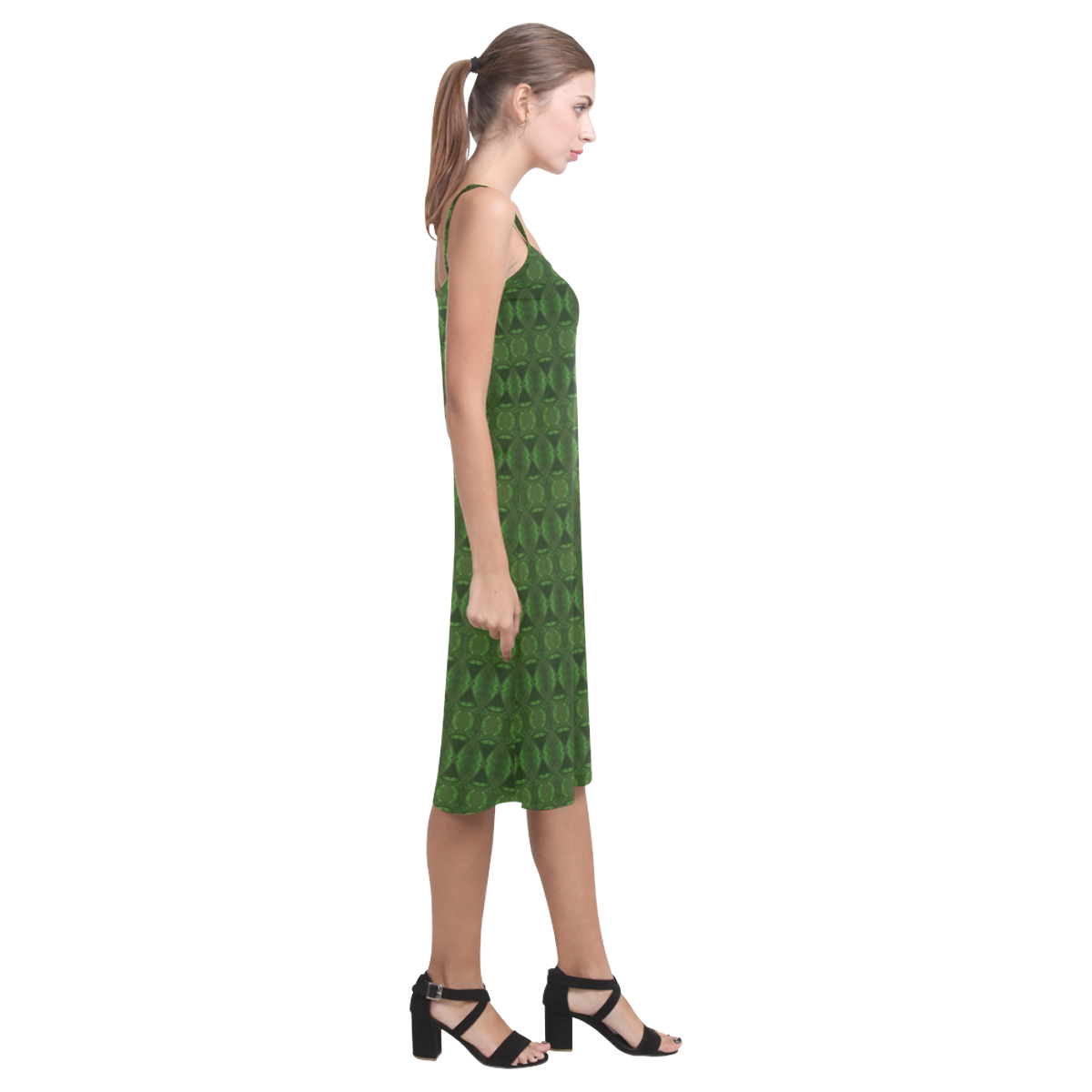 Green Bouncy Alcestis Slip Dress (Model D05)