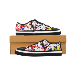 Blue & Red Paint Splatter - Black Women's Canvas Zipper Shoes (Model 001)