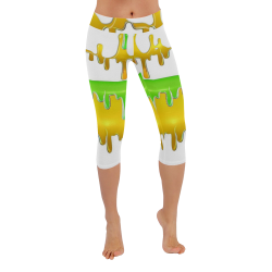 dripping paint in colors Low Rise Capri Leggings (Invisible Stitch) (Model L08)