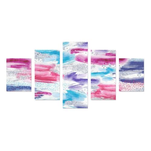 Abstract Watercolor Brush Strokes Canvas Print Sets B (No Frame)