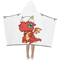 Baby Red Dragon White Kids' Hooded Bath Towels