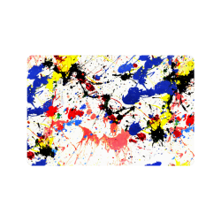 "Blue and Red Paint Splatter Doormat 24""x16"""