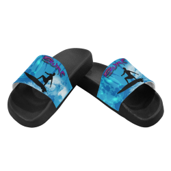 Surfboarder with water splash Men's Slide Sandals (Model 057)