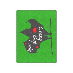 """A Crazy Bat lady throw green Blanket 50""""x60"""""""