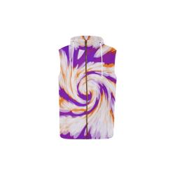 Purple Orange Tie Dye Swirl Abstract All Over Print Sleeveless Zip Up Hoodie for Kid (Model H16)