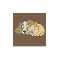 """Napping Dog And Kitten Brown Canvas Print 16""""x16"""""""