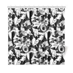 "Black and White Pop Art by Nico Bielow Shower Curtain 72""x72"""