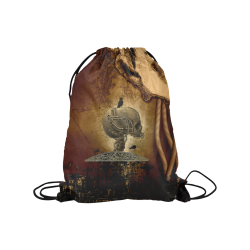 "Mechanical skull Medium Drawstring Bag Model 1604 (Twin Sides) 13.8""(W) * 18.1""(H)"