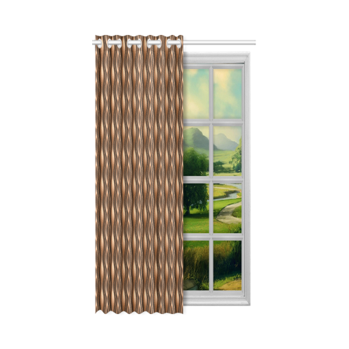 """brown leather abstract wave New Window Curtain 52"""" x 63""""(One Piece)"""