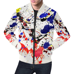 Blue & Red Paint Splatter (White Trim) All Over Print Bomber Jacket for Men (Model H19)