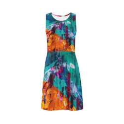 Vintage Colors, Abstract Art, Wearable Art Sleeveless Ice Skater Dress (D19)