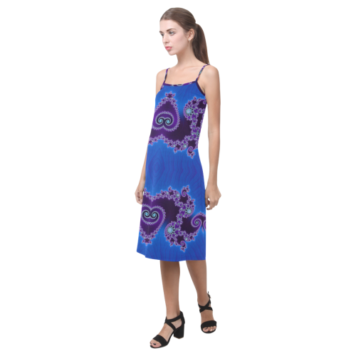 Blue Hearts and Lace Fractal Abstract 2 Alcestis Slip Dress (Model D05)