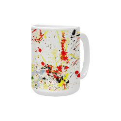 Black, Red, Yellow Paint Splatter Custom Ceramic Mug (15OZ)