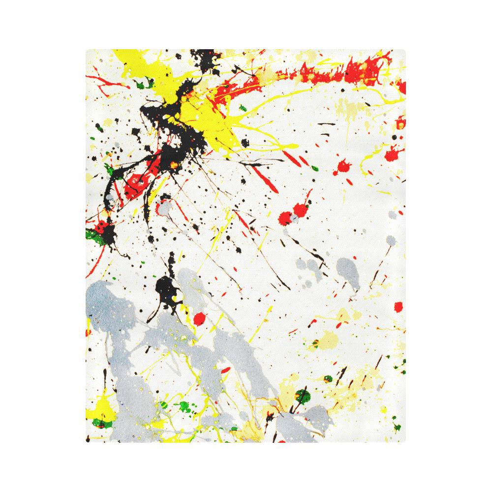 """Yellow & Black Paint Splatter Duvet Cover 86""""x70"""" ( All-over-print)"""