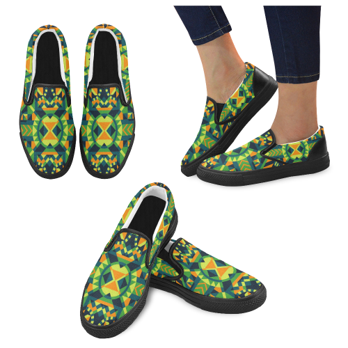 Modern Geometric Pattern Men's Slip-on Canvas Shoes (Model 019)