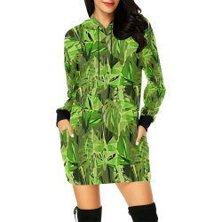 Tropical Jungle Leaves Camouflage All Over Print Hoodie Mini Dress (Model H27)