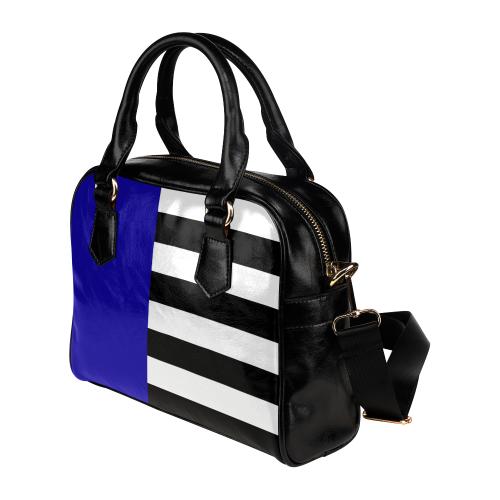 Blue and Stripes Mixed Print Shoulder Handbag (Model 1634)