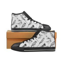 Black and white birds Men's Classic High Top Canvas Shoes (Model 017)