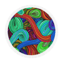 """Psychedelic Lines Red Circular Beach Shawl 59""""x 59"""""""