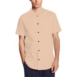color apricot Men's Short Sleeve Shirt with Lapel Collar (Model T54)