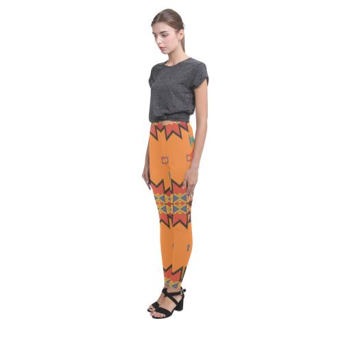 Misc shapes on an orange background Cassandra Women's Leggings (Model L01)