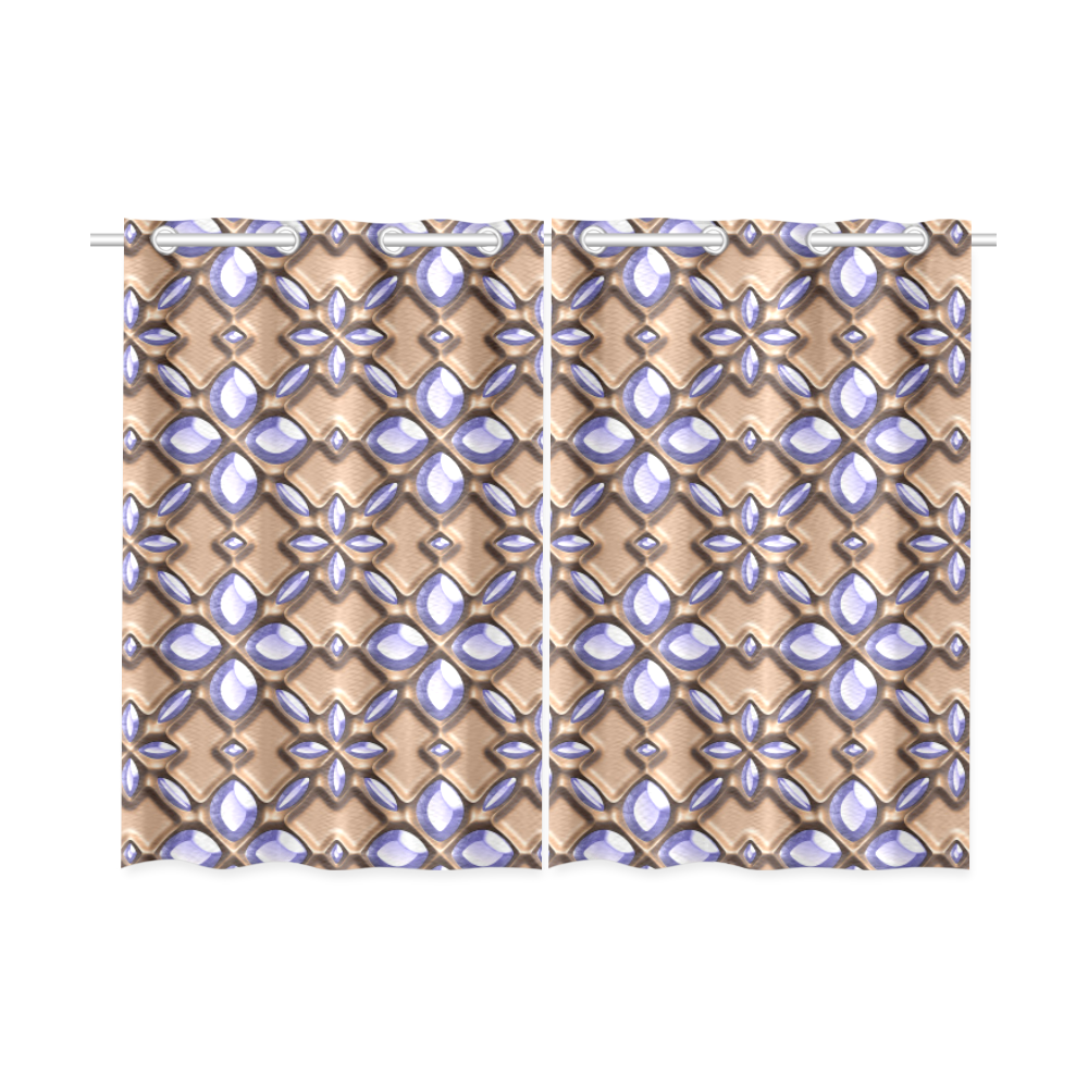 Blue glass pattern in brown background. Kitchen Curtain 26'' X 39''(2 Pieces, 1 Design)