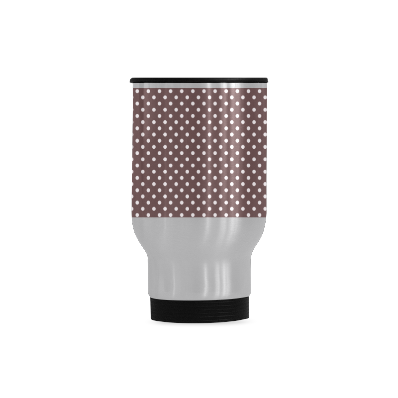 Chocolate brown polka dots Travel Mug (Silver) (14 Oz)