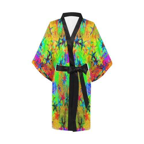 stars and texture colors Kimono Robe