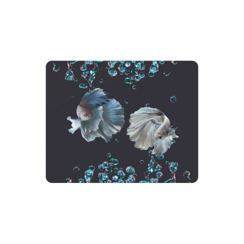 Blue Siamese Fighting Fish - Water Bubbles Photo Rectangle Mousepad