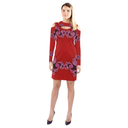 Red Pink Mauve Hearts and Lace Fractal Abstract 2 Cold Shoulder Long Sleeve Dress (Model D37)