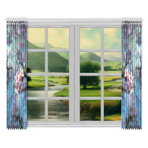 """Cherry blossomL Window Curtain 52""""x84""""(Two Pieces)"""