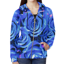 roses are blue All Over Print Full Zip Hoodie for Women (Model H14)