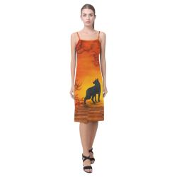 Wonderful black wolf in the night Alcestis Slip Dress (Model D05)