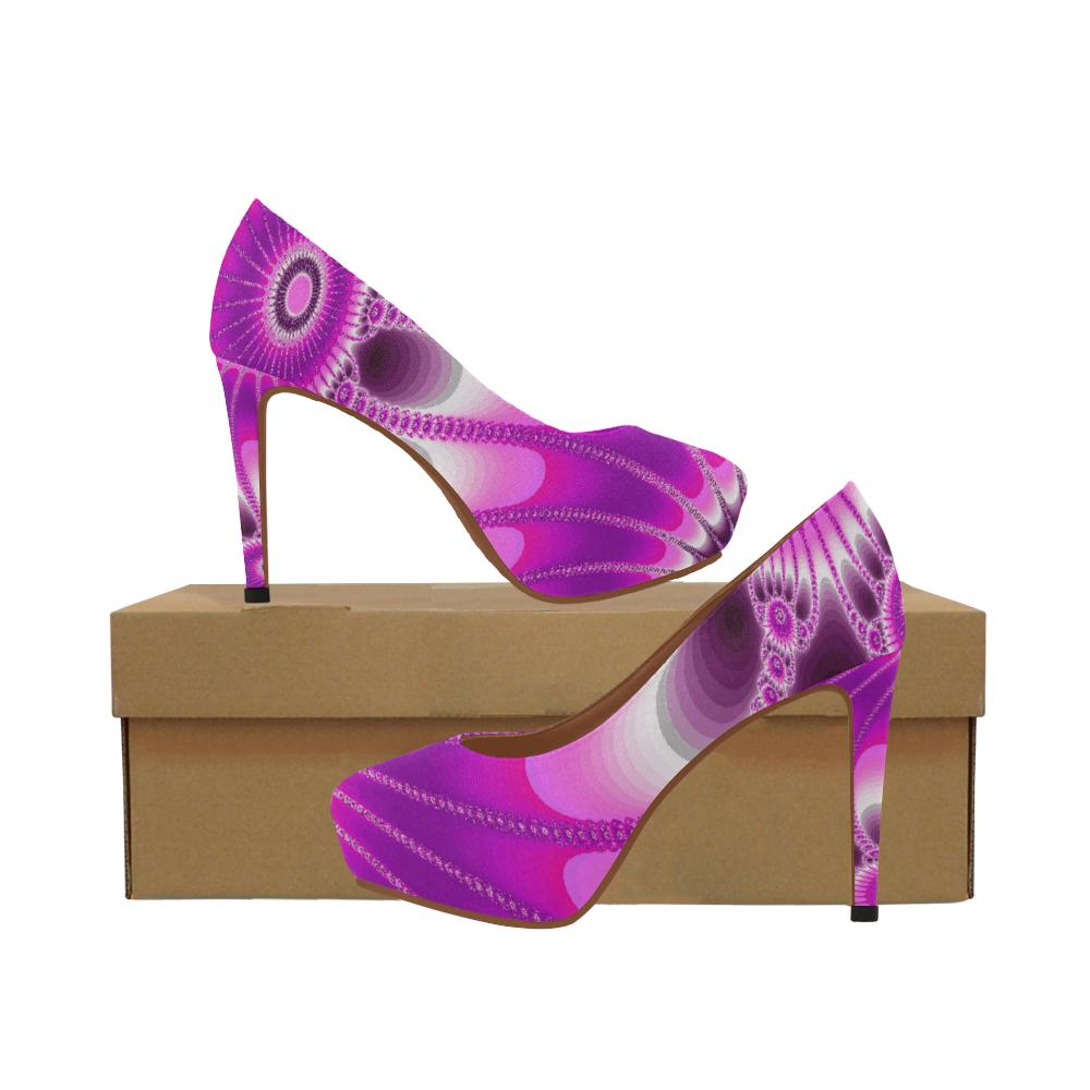 Fuchsia Sunflower Women's High Heels (Model 044)