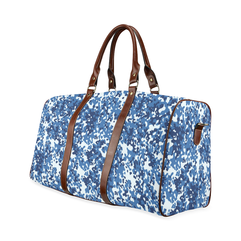 Digital Blue Camouflage Waterproof Travel Bag/Large (Model 1639)